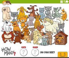 quantos cães e gatos tarefa educacional para crianças vetor