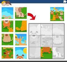 jogo de quebra-cabeça com cães e personagens animais vetor