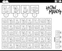 jogo de contagem de quantos personagens de gatinhos vetor