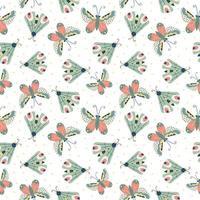 padrão infantil sem costura com borboletas no fundo branco.