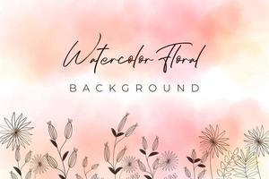 fundo aquarela rosa com conceito floral vetor