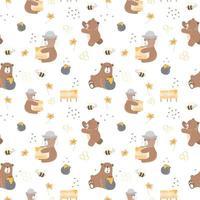 crianças bebê padrão sem emenda com conceito de urso de mel vetor