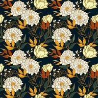 padrão sem emenda de conceito floral com estilo vintage vetor