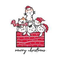 grupo de gatos fofos em vermelho uma caixa de presente