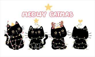 conjunto de gatos pretos engraçados para a celebração do natal vetor