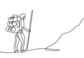 um desenho de linha de alpinista com mochila. pessoa desenhada mão contínua fazendo caminhadas, caminhando na colina. vetor