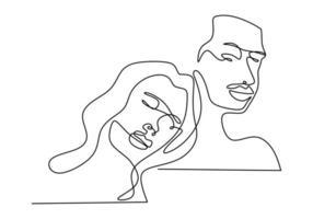 desenho de linha contínua. casal romantico. design de conceito de tema de amantes. minimalismo emocional mão desenhada de homem e mulher. bom para cartão de dia dos namorados, banner e pôster. vetor