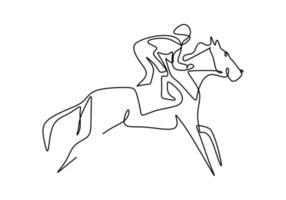 contínuo um cavaleiro de desenho de linha a cavalo. homem jovem cavaleiro do cavalo em ação de salto. treinamento equino em pista de corrida. esporte elegante. esporte equestre show conceito de competição. ilustração vetorial vetor