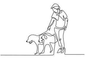 pessoa que passa um tempo caminhando com um cachorro. brincando com o cachorro. contínua única linha desenhada. ilustração vetorial.