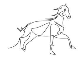 um único desenho de linha da identidade do logotipo da empresa de cavalos de elegância cavalo de corrida. conceito de símbolo animal mamífero cavalo pônei. contínua uma linha única. vetor