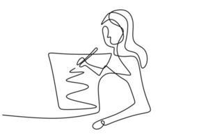 uma menina de doodle de arte de linha única contínua, desenho, arte, lápis. imagem isolada mão desenhada esboço fundo branco. ilustração vetorial