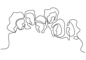 desenho de linha contínua de mulher. em pé com confiança.