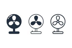 conjunto de ícones de ventilador de mesa