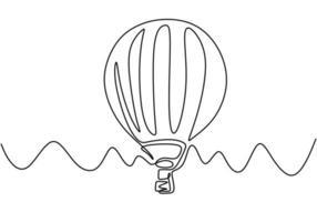conceito de viagem de uma linha. balão de ar aeróstato no céu. minimalismo contínua única mão desenhada, ilustração vetorial, isolada no fundo branco. vetor
