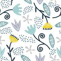 padrão de repetição sem costura com flores e folhas, fundo de desenho infantil escandinavo. tecido desenhado à mão, embrulho, impressão da arte da parede. ilustração vetorial repetiu design bonito. vetor