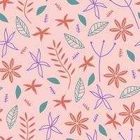 padrão de repetição sem emenda com flores e folhas, fundo de desenho infantil escandinavo. tecido desenhado à mão, embrulho, impressão da arte da parede. ilustração vetorial repetiu design bonito.