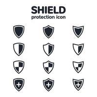 ícone de escudo definido para ícones de design ou aplicativo de interface do usuário vetor