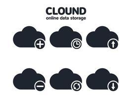 conjunto de ícones de nuvem de armazenamento de dados online vetor