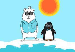 Urso polar e pinguim vetor
