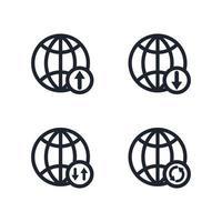 conjunto de ícones de globo, conjunto de ícones de conexão de internet na world wide web