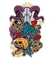 crânio grunge vintage colorido vetor