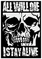 crânio gótico de grunge com letras vetor