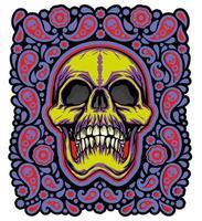 caveira colorida do grunge vetor