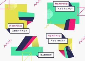 Abstract Geometric Memphis Banner Background Flat do vetor