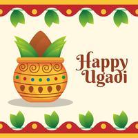 Happy Ugadi Greeting Card para modelos de férias vetor