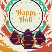 Happy Holi Festival Com Colorido Gulaal De Cores Cumprimentando Elementos vetor