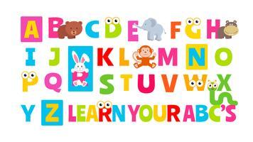 Alfabeto animal bonito vetor