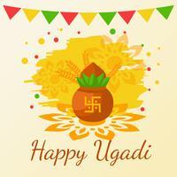 Ugadi feliz. Vetor Hindu do Ano Novo