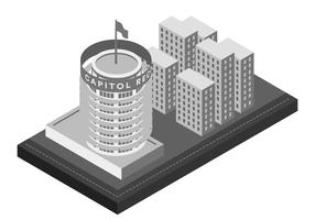 Capitol record landmark building isometric illustration vetor