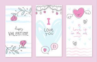 Coleção desenhada a mão do cartão do Valentim Doodle