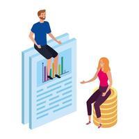 casal com documento e empilhar moedas