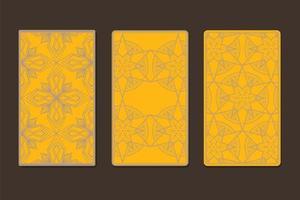 verso de cartas de tarô decoradas com gráficos ornamentais vetor