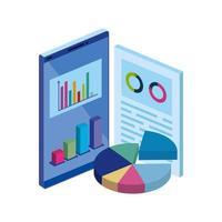smartphone com documento e infográficos