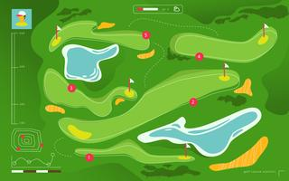 vista aérea campo de golfe mapa do torneio vetor ilustração plana