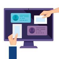computador para votação online com ícone de mãos isoladas vetor