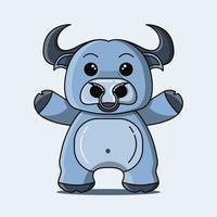 mascote de búfalo fofo na cor azul vetor