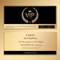 modelo de convite definido com design dourado e preto vetor