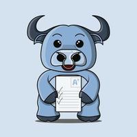 um mascote de búfalo azul fofo que fica feliz por conseguir uma pontuação positiva vetor