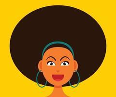 mulher sorridente rosto com estilo de cabelo afro. vetor