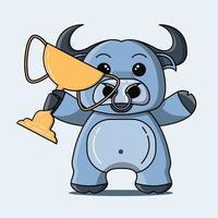 mascote de búfalo fofo segurando um troféu