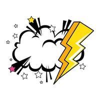 raio com ícone de estilo pop art na nuvem