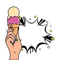 mão com sorvete e ícone de estilo pop art de explosão