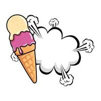 sorvete delicioso com ícone de estilo pop art de explosão de nuvem