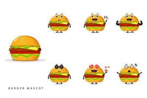 Conjunto de design de mascote de hambúrguer fofo vetor