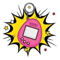 mascote do videogame dos anos noventa em explosão pop art