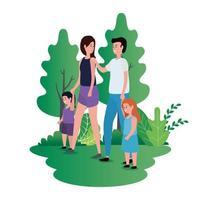 casal de pais com filhas no parque vetor